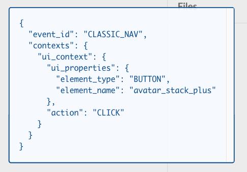 Sample log event data configured for a menu option within Slack.