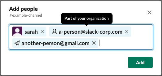 """The """"add people"""" modal in Slack containing a user, an internal employee's email address, and an external user's email address."""