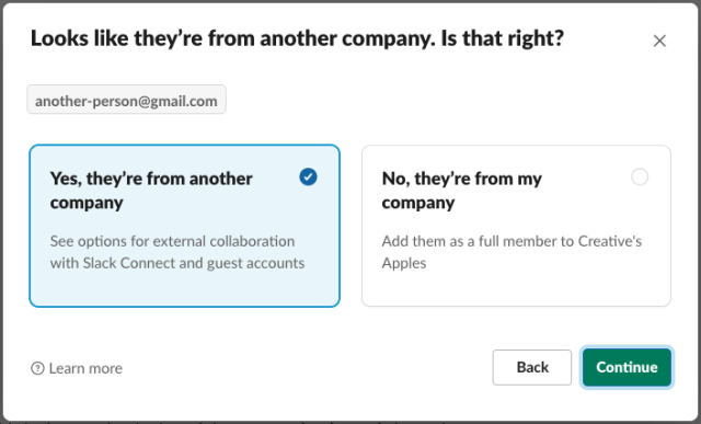 A confirmation screen asking for the user to confirm whether an email is external or internal.